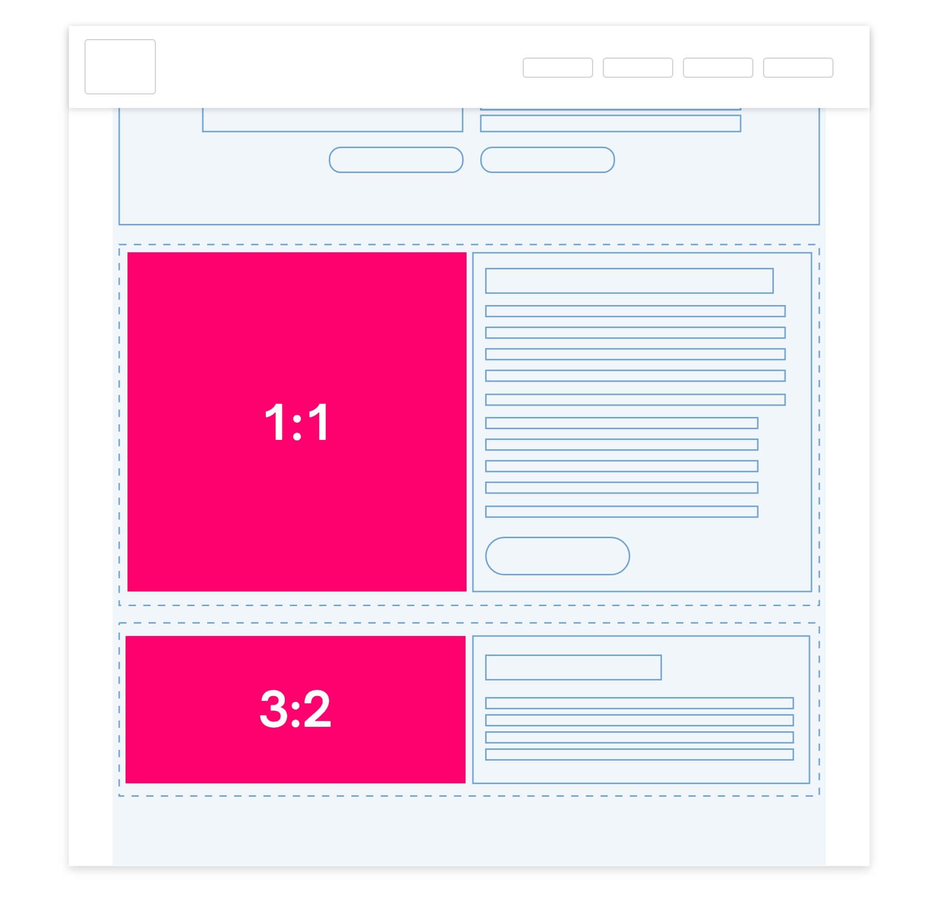 Half-width image options on websites