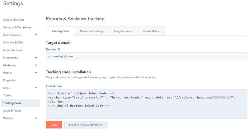 Install HubSpot Tracking Code