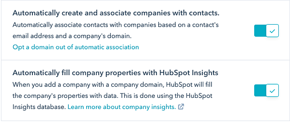 Enable HubSpot Insights