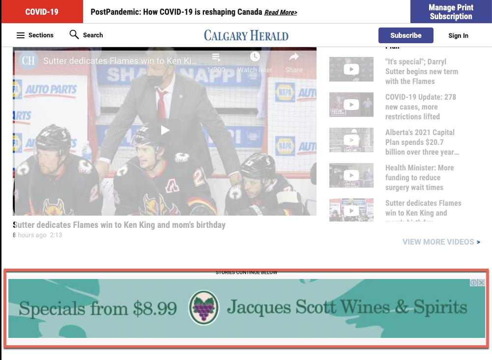 Display ads on the Calgary Herald